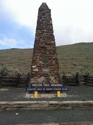 Oregon Trail Marker in Baker City, Oregon.