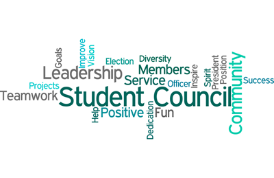Student Council Wordle - Student Council Community Leadership Teamwork Members Projects Goals Improve Vision Election Diversity Service Officer Inspire Spirit President Position Success Help Positive Dedication Fun