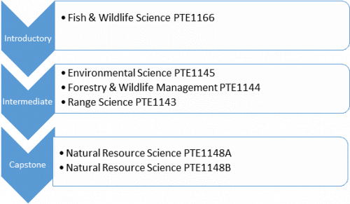 Introductory Fish & Wildlife Science PTE1166 Intermediate Environment Science PTE1145 Forestry & Wildlife Management PTE1144 Range Science PTE1143 Natural Resource Sciene PTE1148A Natural Resource Science PTE1148B