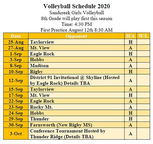 SMS Volleyball Schedule 2020