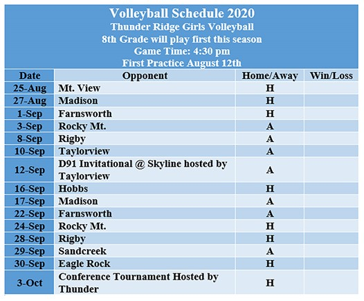 Thunder Ridge Middle School Volleyball Schedule 2020