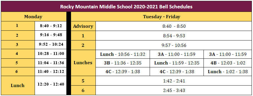 Rocky Mountain Middle School 2021 Bell Schedules