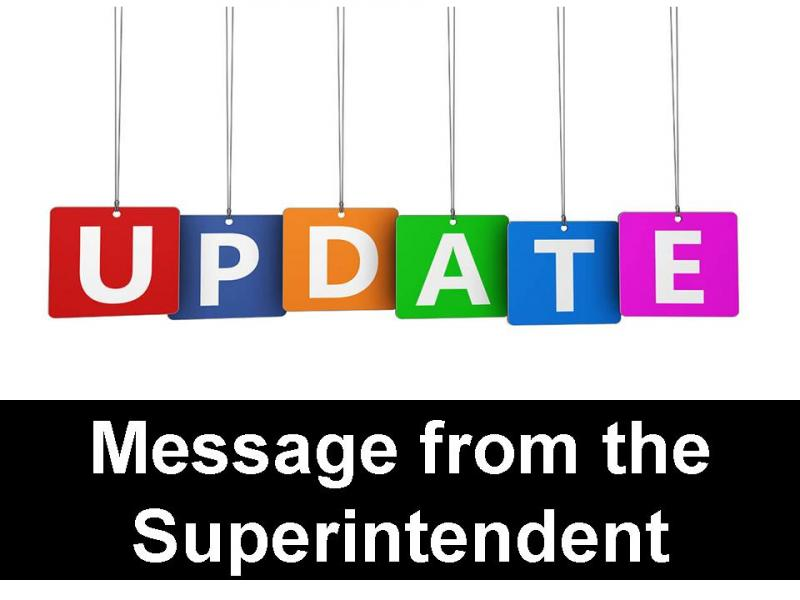 Message from the Superintendent: COVID Update