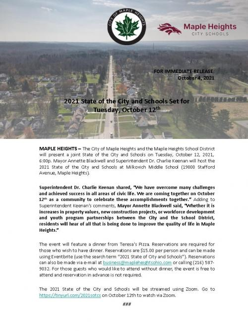 State of the City and Schools Press Release