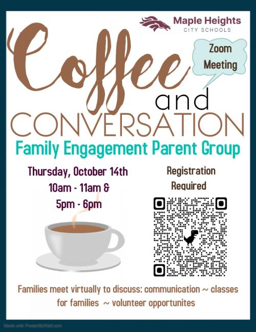 Coffee and Conversation Parent Engagement Flyer