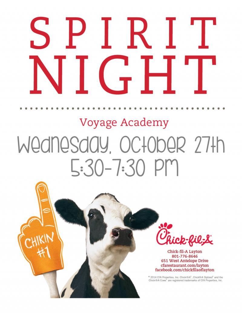 Spirit Night at Chick-fil-A Wednesday, October 27th