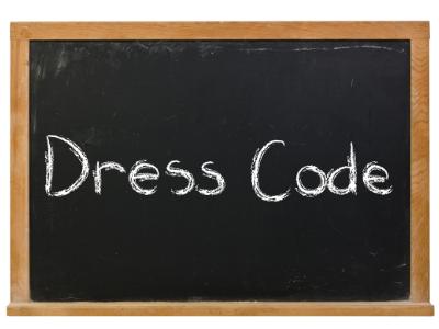 Dress Code sign on chalk board