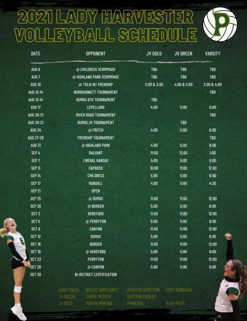 Pampa Lady Harvesters volleyball schedule
