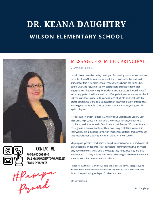 Principal message from Dr. Keana Daughtry
