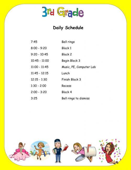 Third Grade Daily Schedule