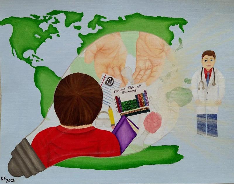 Kristen Parson - Painting title, Hands that light the future