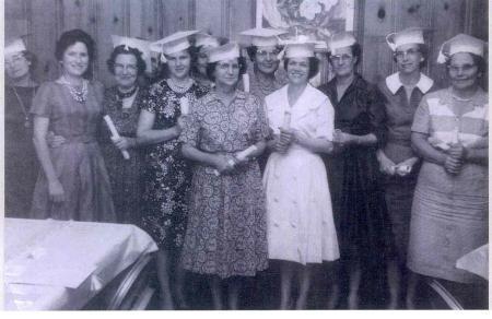 Adult Night Typing Class: Gladys Lowden, Wilma McDaniel, Zina Frederick, Lucille Henk, Bethel Lee, Beth Guffey, Myrl Finch, Stella  Brown, Mary Harter, Gladys McCurdy, Bennie Goss, and Ruth Hyatt