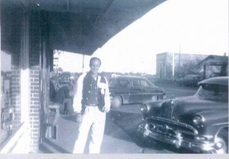 Boyd Linker in front of Turpin Grocery Store on Main St.