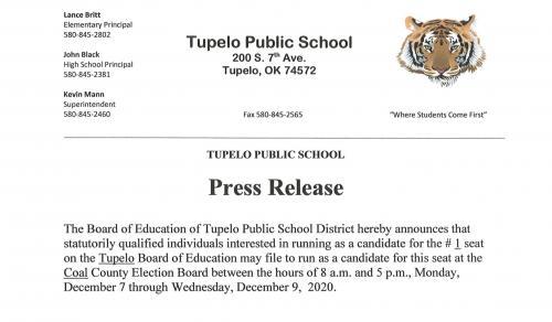 2020 Tupelo School Board Opening Press Release