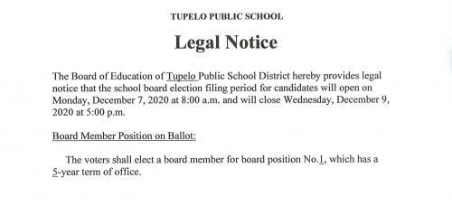 2020 Tupelo School Board Election Legal Notice
