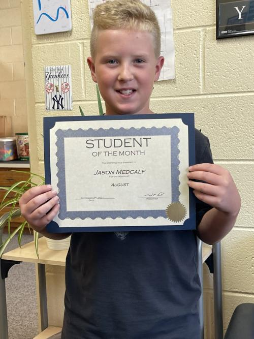 Jason Medcalf-Tupelo Elementary August Student of the Month