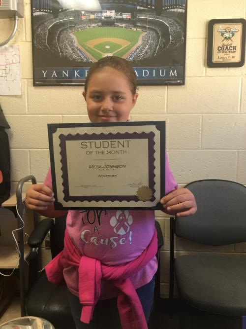 Mesa Johnson October Elementary Student of the Month