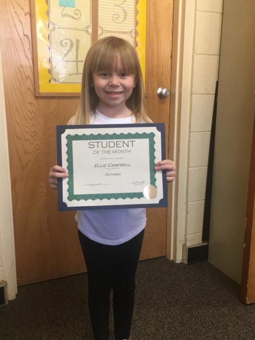 Ellie Campbell November Elementary Student of the Month