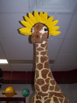 Taylor the Library Giraffe on Kansas Day