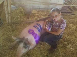 Janelle and her 4-H Pig