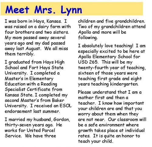 Meet Mrs. Lynn