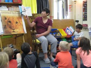 Miles' mom reading to the class!