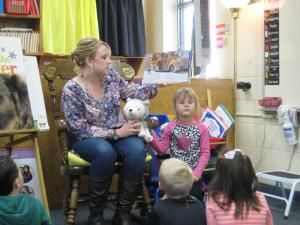 Lainey's mom reading to the class!