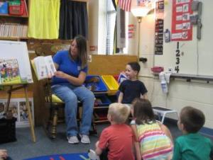 Nolan's mom reading to the class!