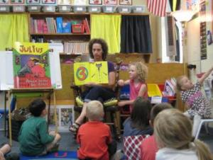 Brynn's mom reading to the class!