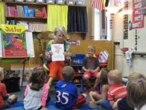 Deacon's grandma reading to the class!
