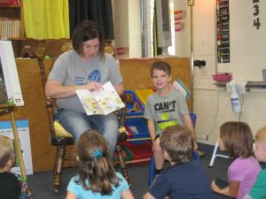 Wyatt's mom reading to the class!