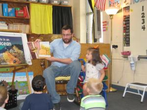 Natalie's dad reading to the class!