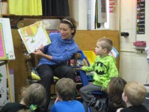 Knox's mom reading to the class!
