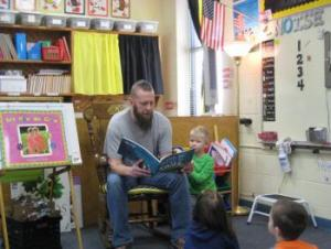 Parker's dad reading to the class!