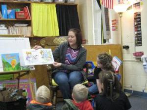 Lyla's mom reading to the class!