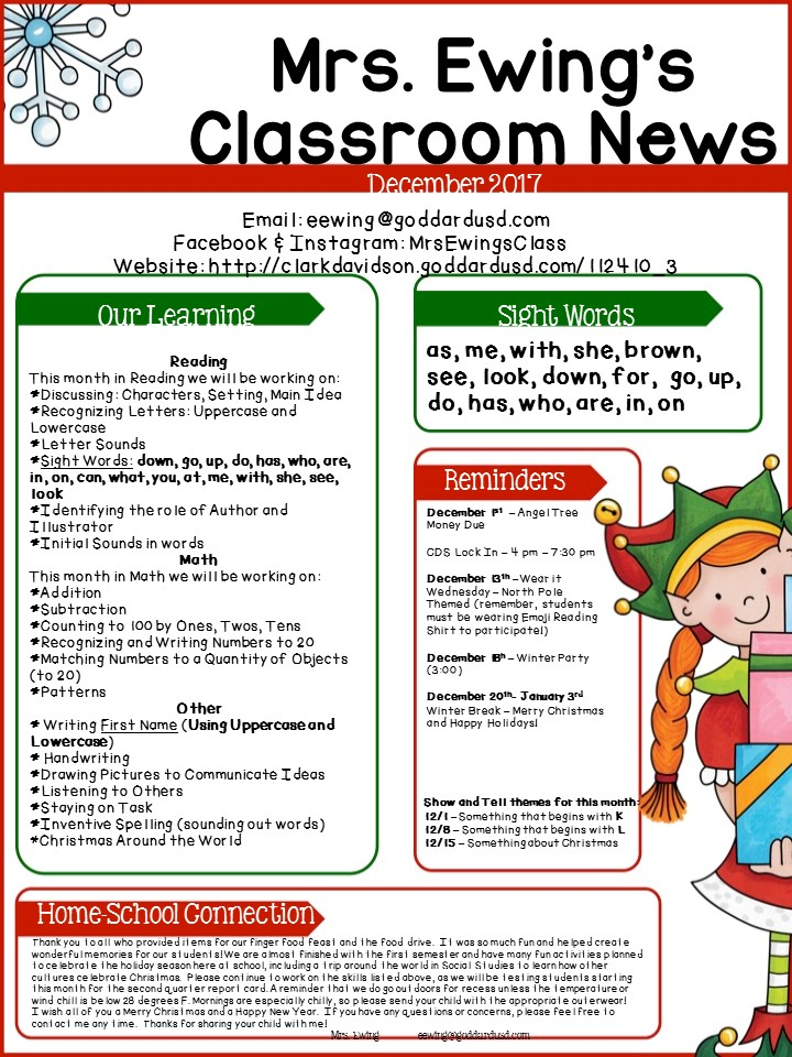 Clark Davidson Elementary School - Monthly Newsletters
