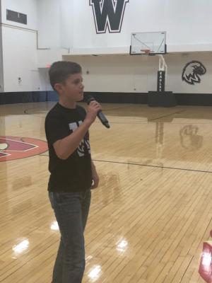 Wade Manke giving his speech