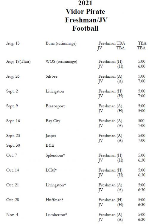 F/JV Football Schedule
