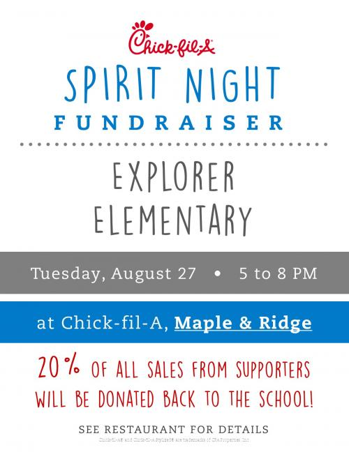 Spirit Night is August 27th