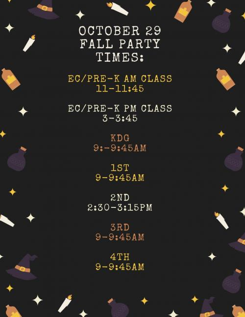 Fall Party Times