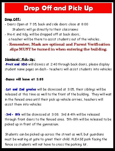Drop Off and Pick Up Information