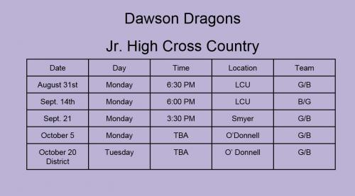 Jr. High Cross Country Schedule