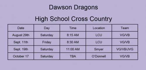 High School Cross Country Schedule