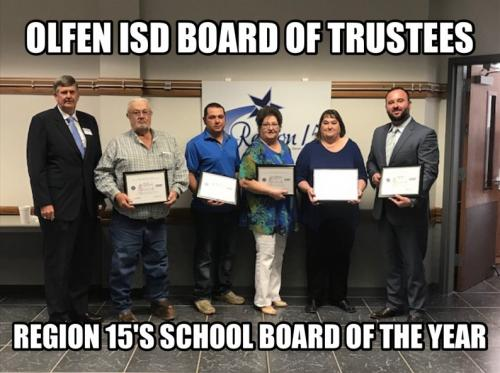 Olfen ISD board of trustees Region 15's School Board of the Year