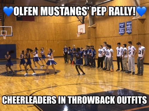 Pep Rally shows cheerleaders and football players