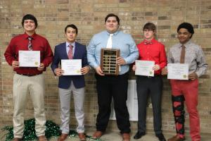 Football Connie Bean Memorial Scholarship:  Corbie Navarrette, Dante Griner, Chris Samaniego, David Birdwell, & Tylan McCalister