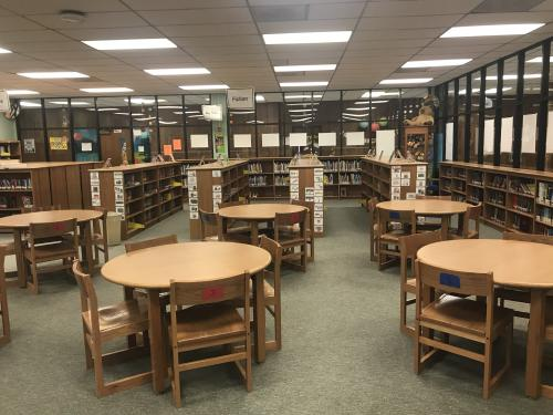 Picture of Sudderth Library: table, chairs, and book shelves