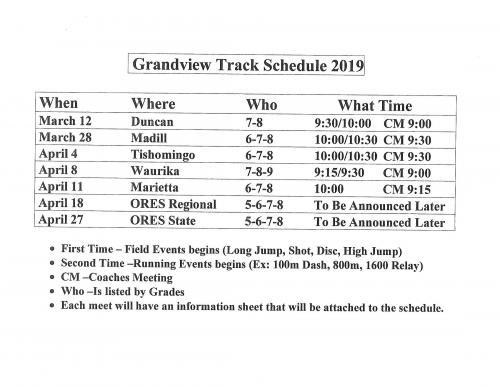 2019 Track Schedule