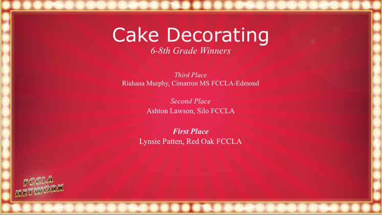 Ashton Lawson Wins 2nd in the State FCCLA Cake Decorating Contest