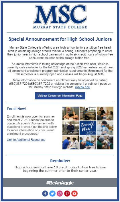 Murray State College Concurrent Information